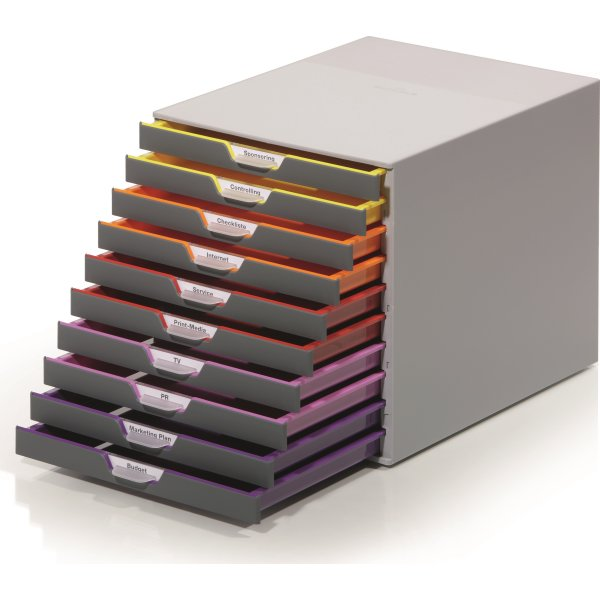 Durable Varicolor skuffekabinet, 10 skuffer