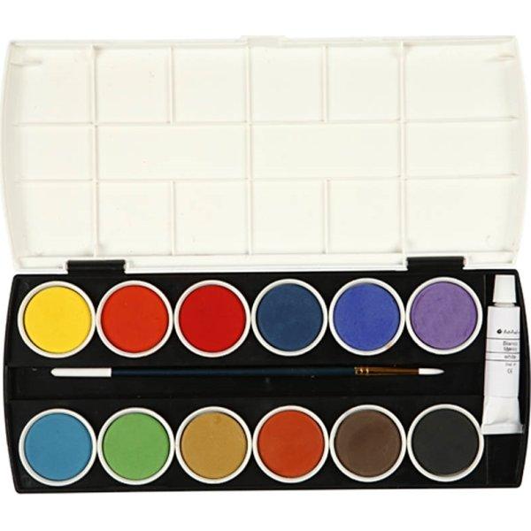 Colortime Vandfarve Sæt, 12 farver