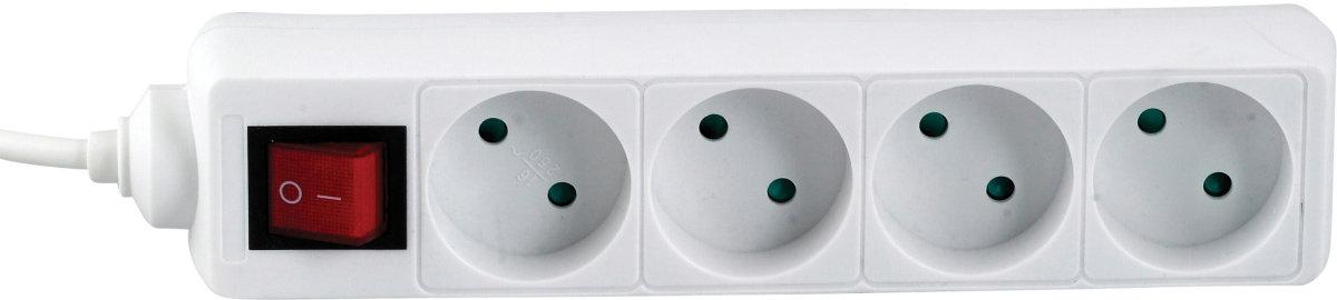 Stikdåse med afbryder, 4 udtag, hvid