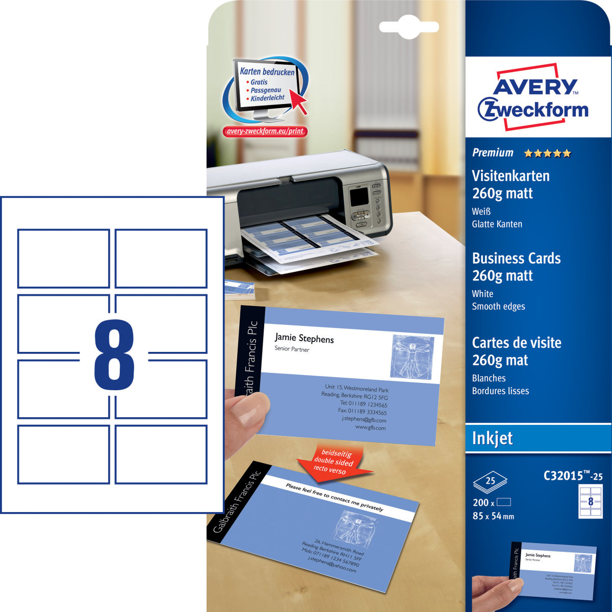 Avery C32015 visitkort, mat, inkjet, 260g