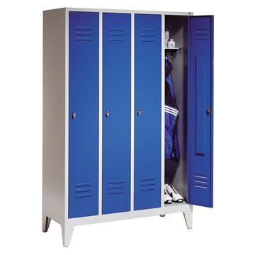 CP Classic garderobeskab 4x1 rum, Ben, Grå/Blå