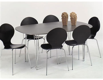 Comfort kantinebord sort, m. udtræk