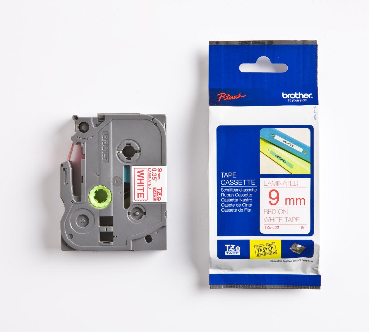 Brother TZe-222 labeltape 9mm, rød på hvid