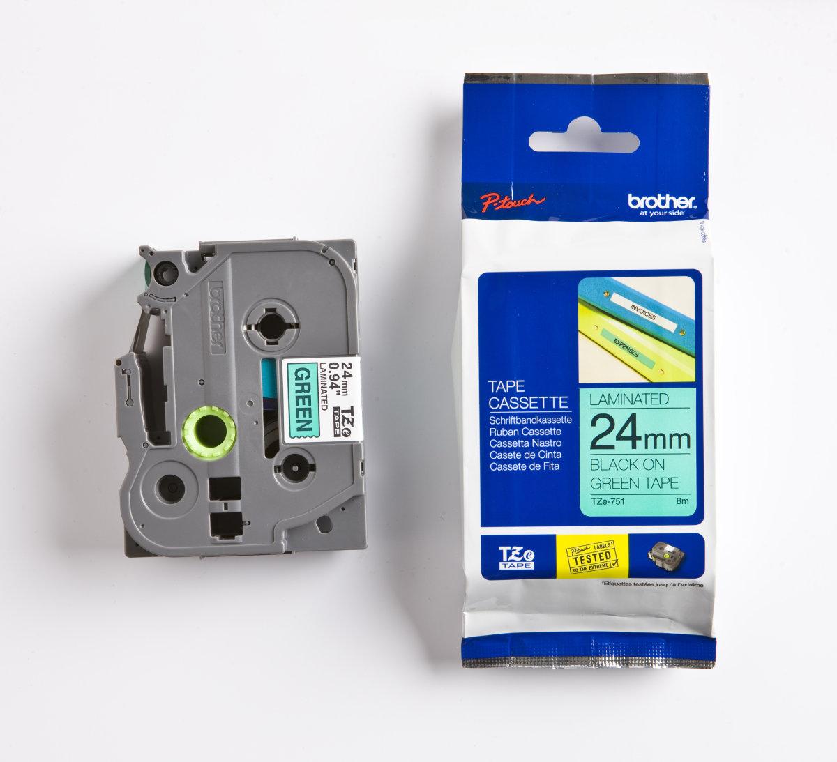 Brother TZe-751 labeltape 24mm, sort på grøn