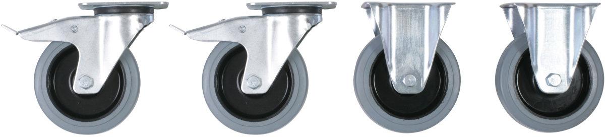 Hjul til tipcontainer (2+2) gummi