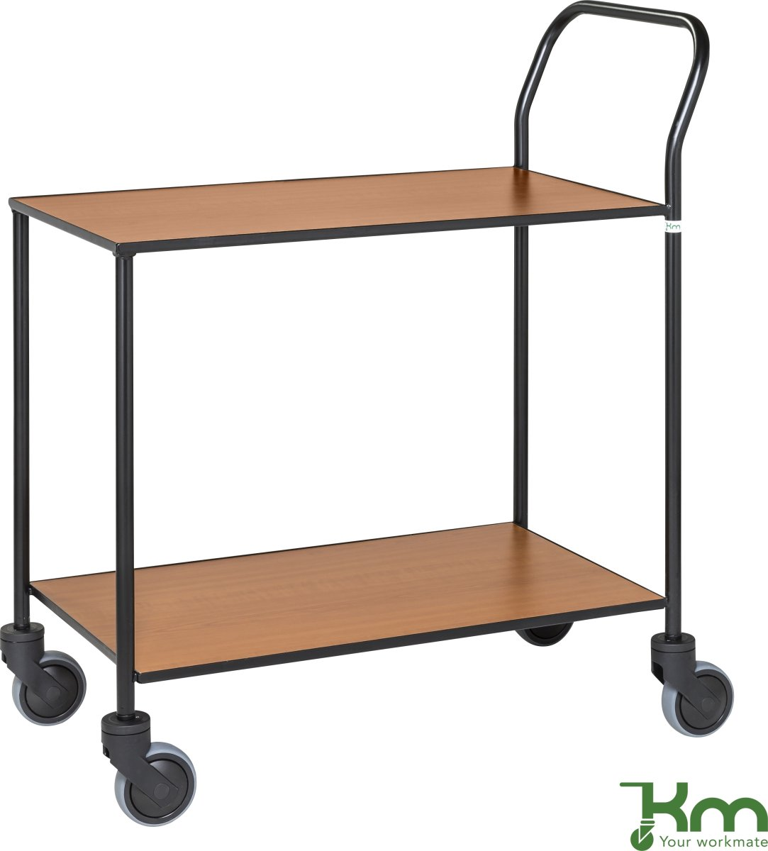 Rullebord - 2 hylder, 840x430x970, Sort/Kirsebær