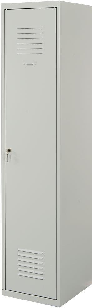 Proff garderobeskab,1x(1x2),Plan,Cylinder,Grå/Grå
