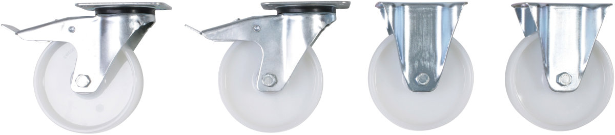 Hjul til tipcontainer (2+2) nylon