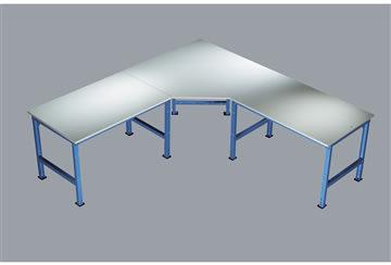 Manuflex 5-kantet hjørnebord, Grå melamin