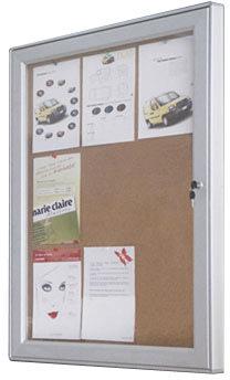 Infobox, korkplade med lås, 82x108, alu ramme