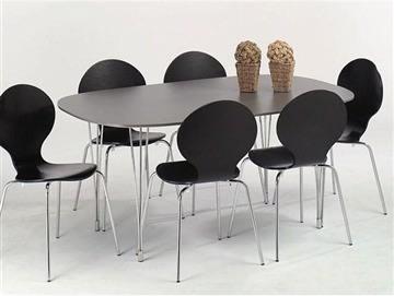 Comfort Classic kantinesæt m. 6 stole sort/krom