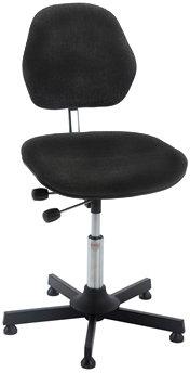 Aktiv arbejdsstol m/ glat søjle, sort, stof