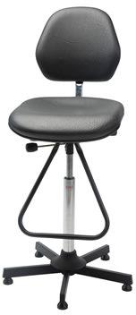 Aktiv arbejdsstol m/ fodbøjle, blå, kunstlæder