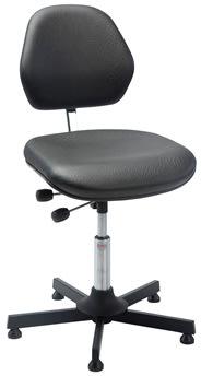 Aktiv arbejdsstol m/ glat søjle, sort, kunstlæder
