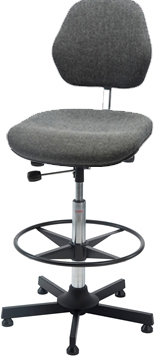 Aktiv arbejdsstol m/ fodring, grå, stof