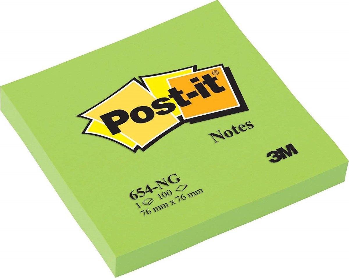 Post-it memoblok 76 x 76mm, neongrøn