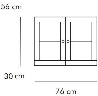 ABC Dobbeltskab m. glaslåger, 76x30 cm, natur