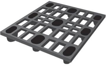 Letvægtspalle, l.1200xb.1000xh.130 mm, sort
