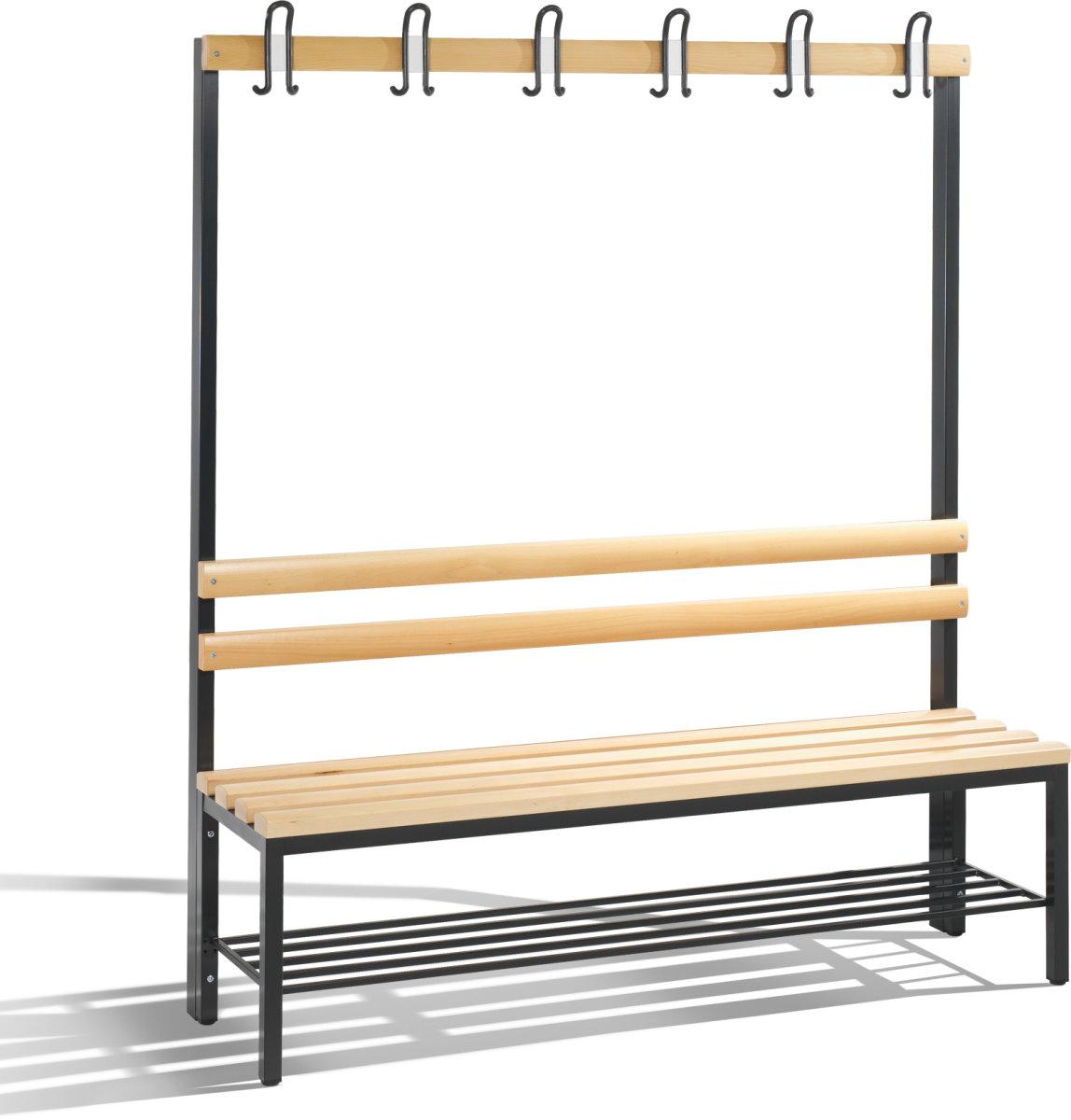 CP enkeltsidet bænk m/skohylde og knager, 150 cm
