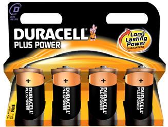 Duracell Plus Power D-batterier LR20, 4 stk.