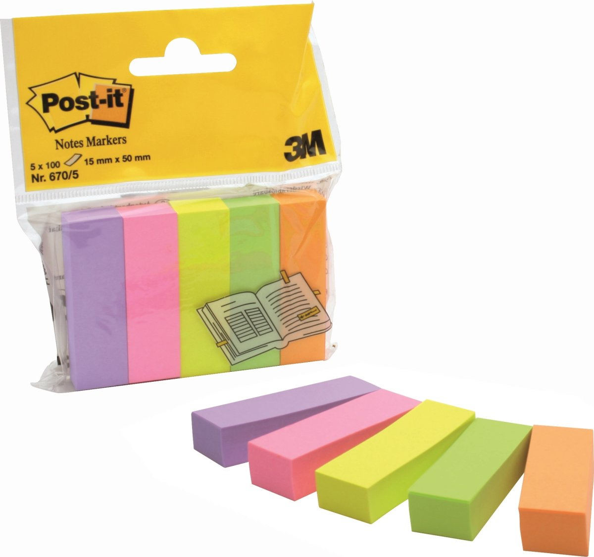 Post-it indexfaner 5 mix, 500 strips, neon farver
