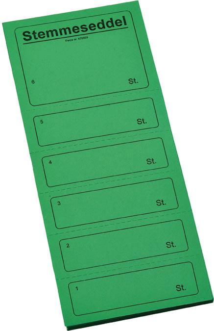 Ferco stemmeseddel 4705, 100 x 250mm, grøn