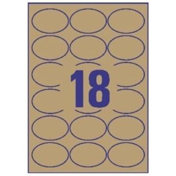 Avery L7103-25 ovale etiketter, 63,5x42,3 mm, brun
