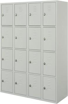 Proff garderobeskab,4x4 rum,Plan,Hængelås,Grå