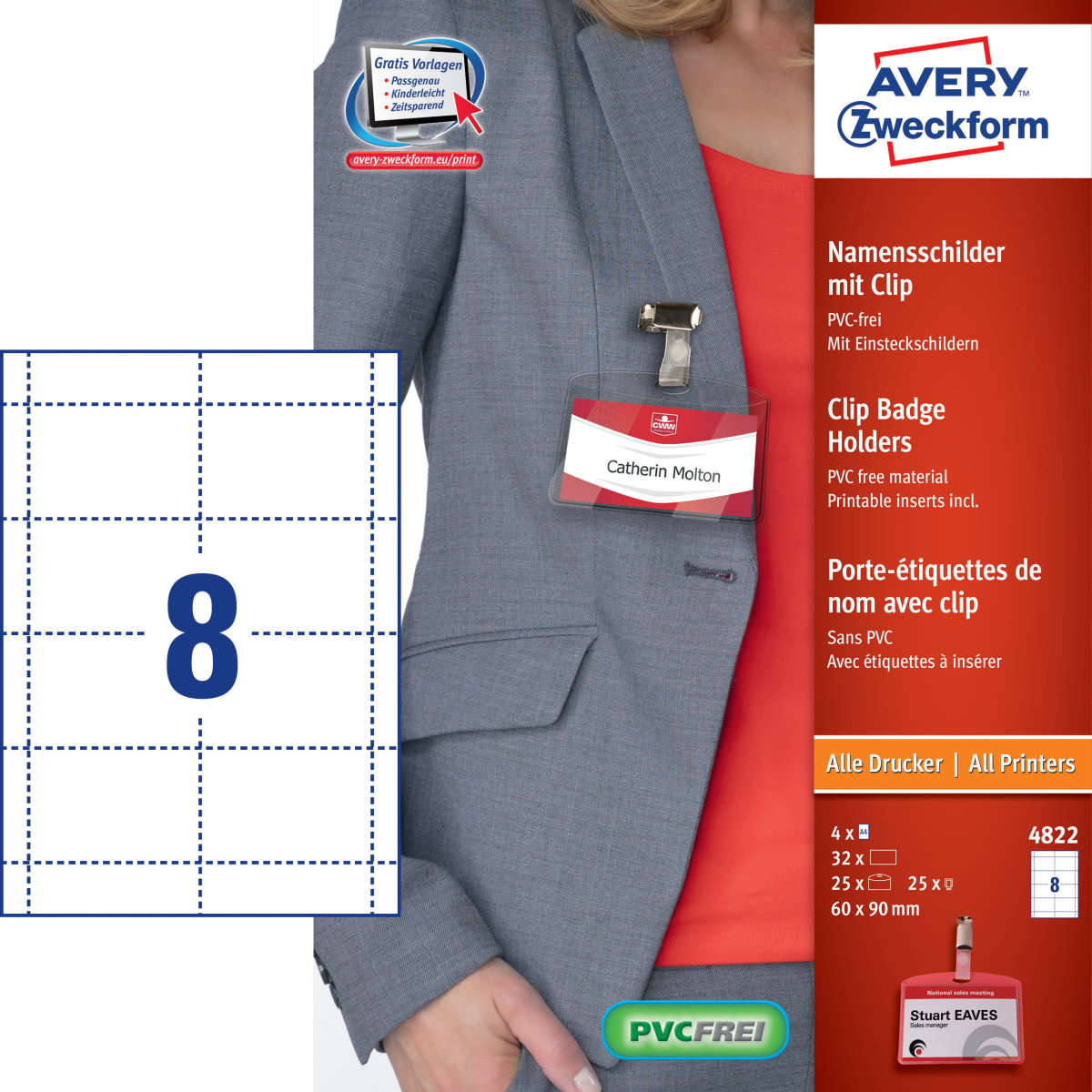 Avery navneskilte sæt - plastholdere, clips, kort