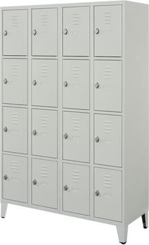 Proff garderobeskab,4x4 rum,Ben,Hængelås,Grå
