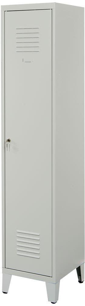 Proff garderobeskab,1x(1x2), Ben, Cylinder, Grå