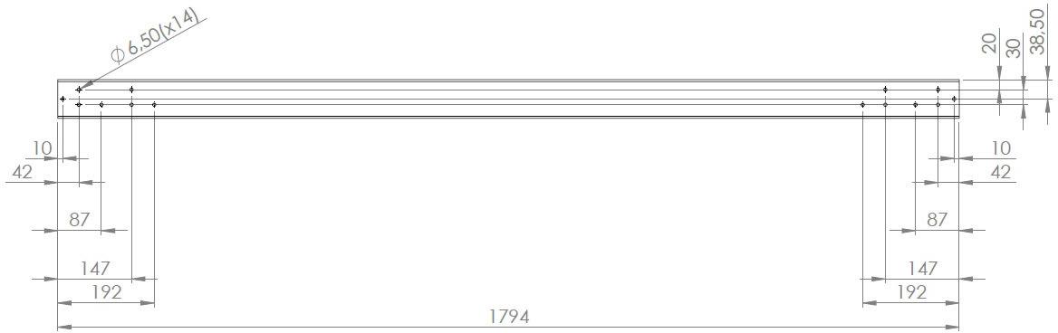 Screenit slide monteringsskinne L 180 cm
