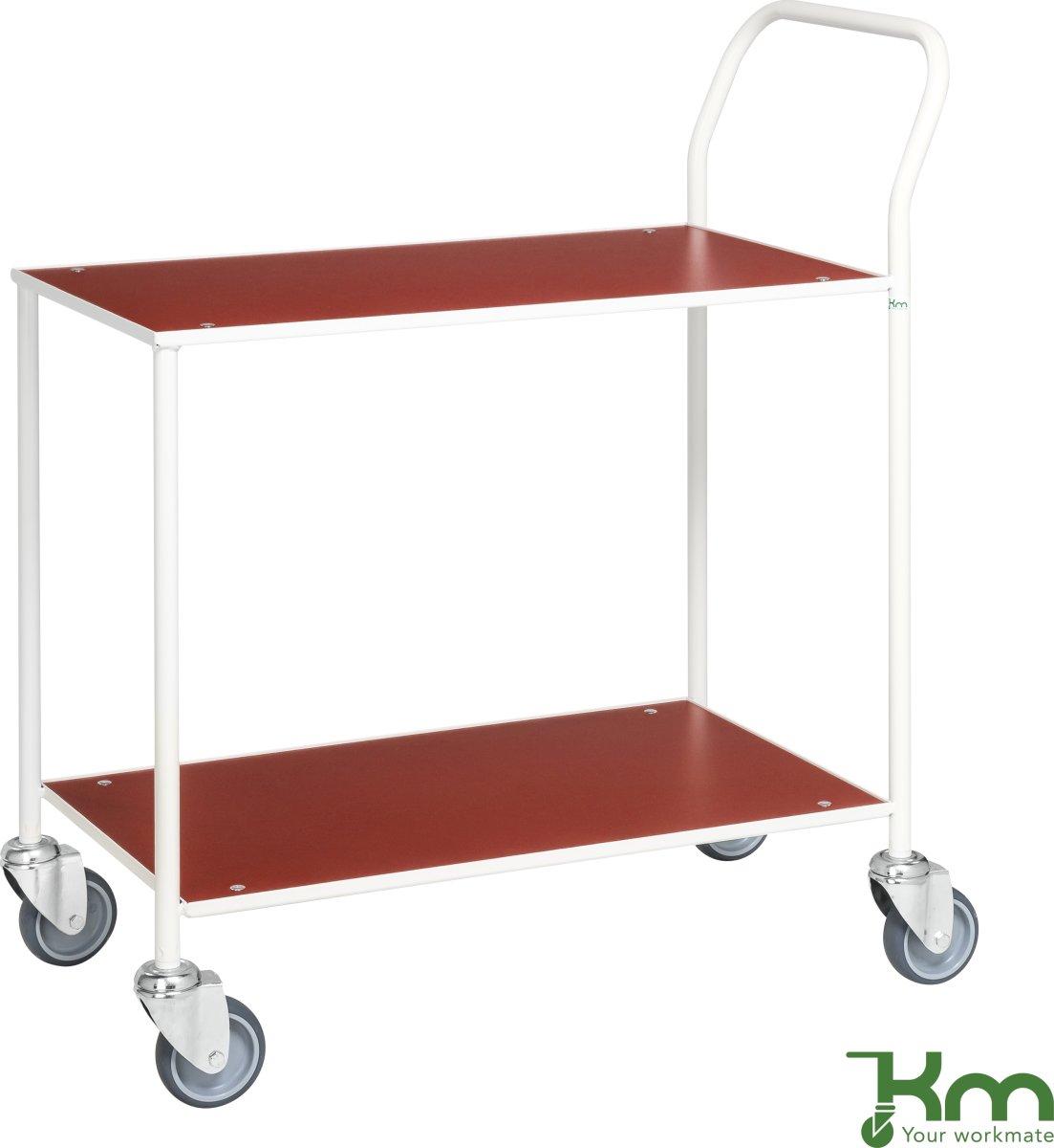 Rullebord - 2 hylder, 840x430x970, Hvid/Rød