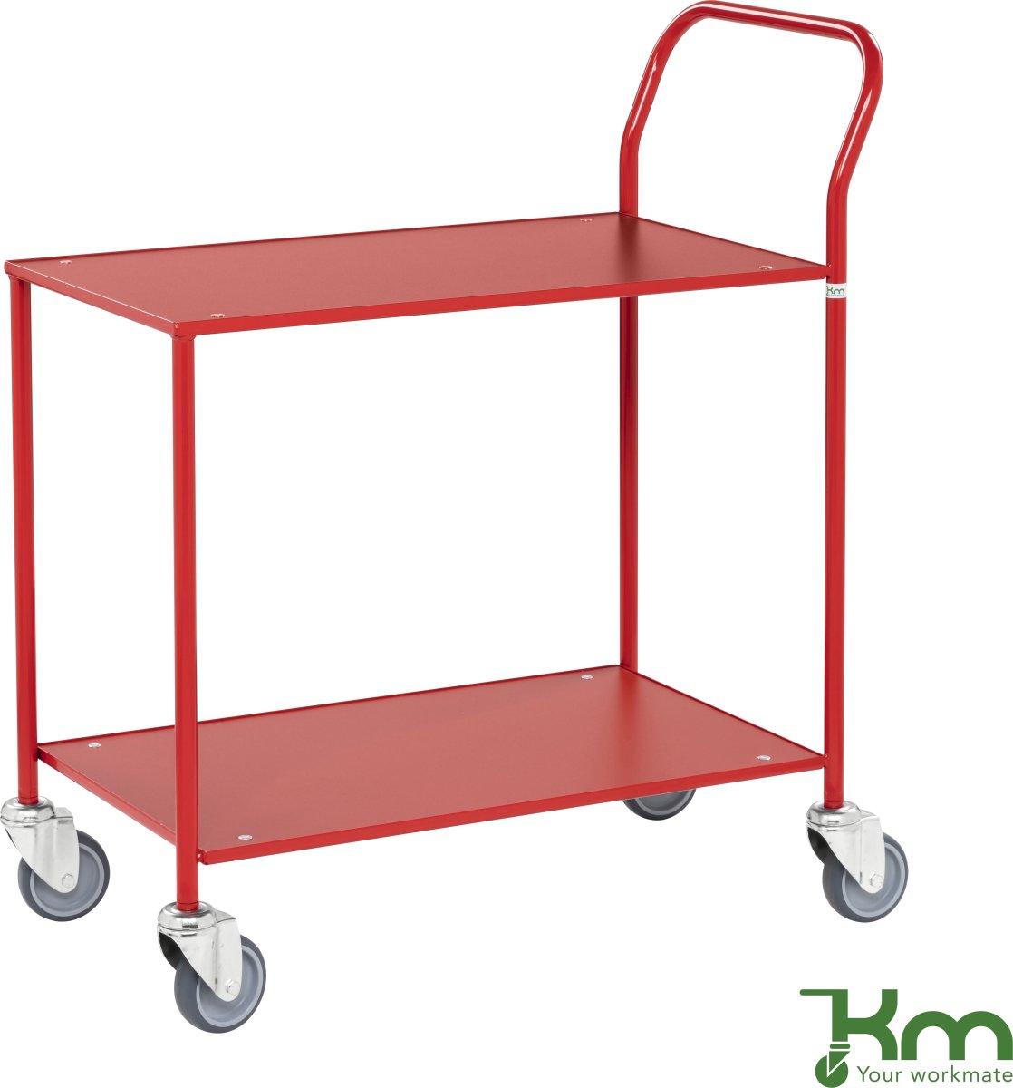 Rullebord - 2 hylder, 840x430x970, Rød/Rød