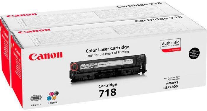 Canon 718BK lasertoner, sort, 2x 3400s