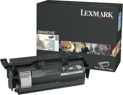 Lexmark X654X31E lasertoner, sort, 36000s