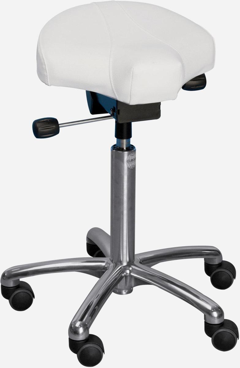 CL Gamma sadelstol, hvid, kunstlæder, 58-77 cm