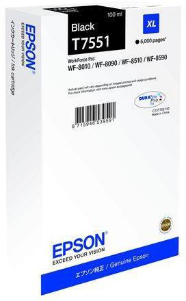 Epson C13T755140 XL blækpatron, sort, 5000s.