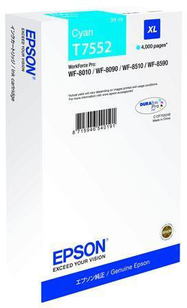 Epson C13T755240 XL blækpatron, blå, 4000s.
