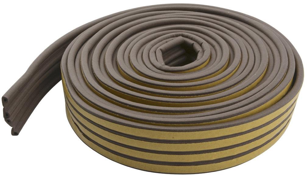 Selvklæbende tætningsliste, P-form,  brun, 6 m