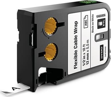 Dymo XTL, kabeltape, 12 mm, sort på hvid