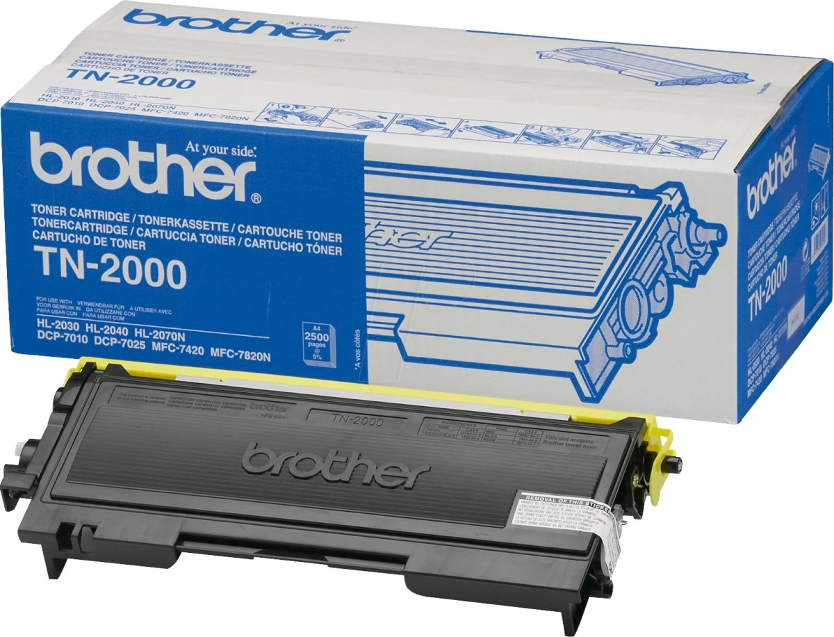 Brother TN2000 lasertoner, sort, 2500s