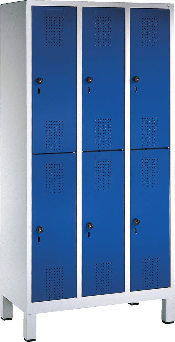 CP garderobeskab, 3x2 rum, Ben, Hængelås, Grå/Blå