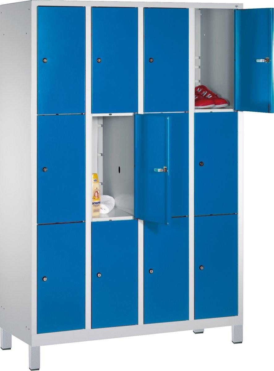 CP garderobeskab, 4x3 rum, Ben,Cylinderlås,Grå/Blå