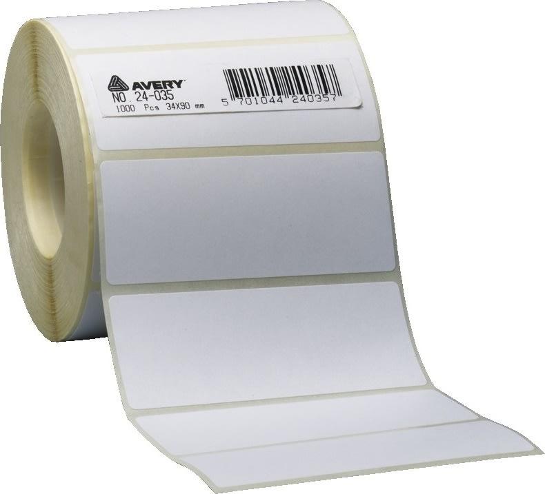 Avery 24038 etiketter på rulle, 50 x 102mm, 1000st