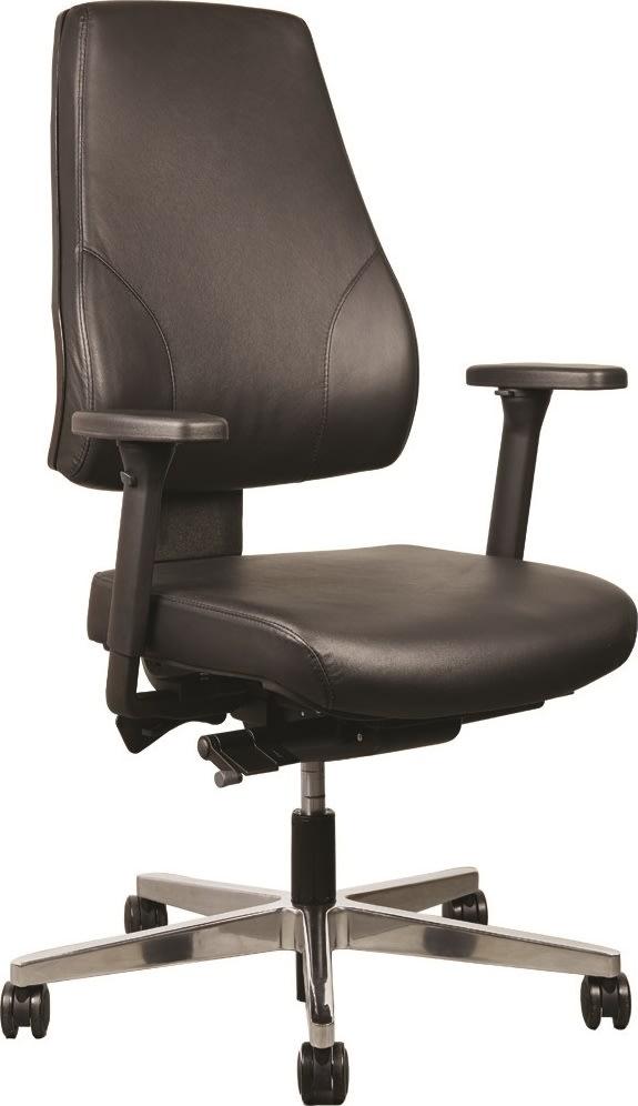 Palermo kontorstol i sort læder inkl. armlæn