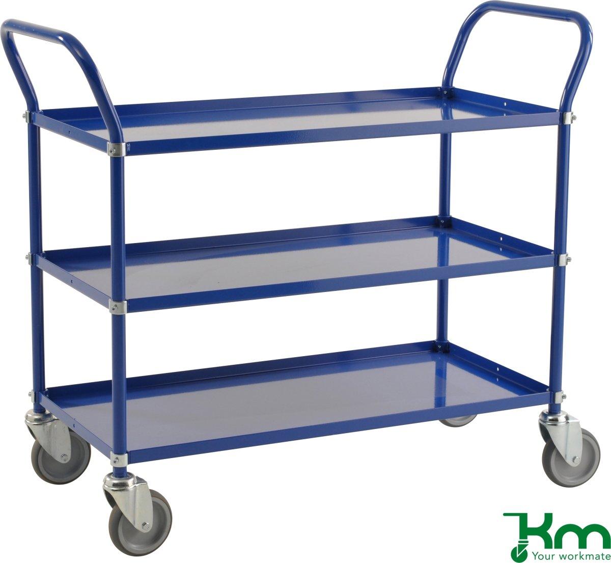 Rullebord 3 hylder, 1070x585x940 mm, 250kg, blå