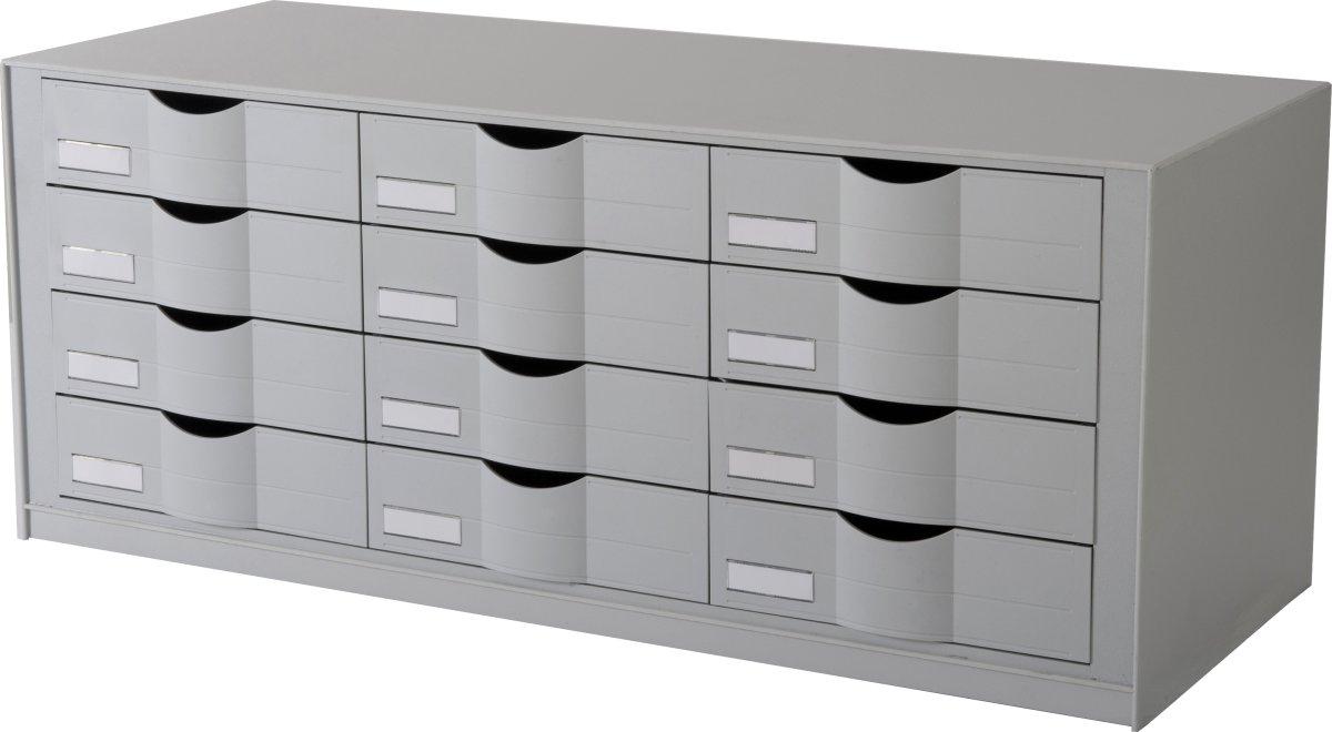 Paperflow Skuffemodul 12 skuffer, grå
