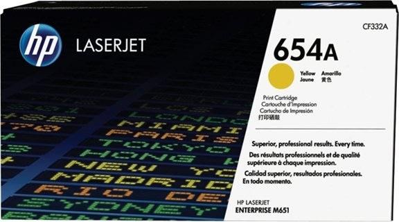 HP 654A/CF332A lasertoner, gul, 15000s.