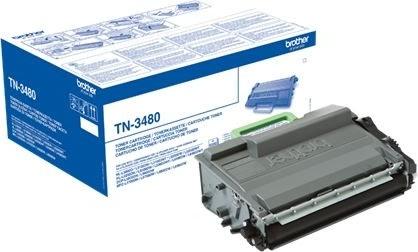 Brother TN3480 lasertoner, sort, 8000s.